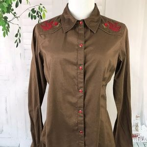 Fossil Women's Pearl Snap Down Brown Western Shirt